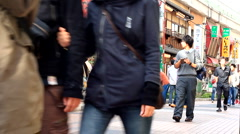 Japanese Youth in Ueno Market - stock footage