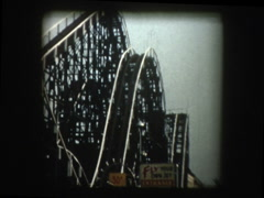 Classic wooden roller coaster Stock Footage