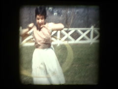 Girl Hula Hoops 1959 Stock Footage