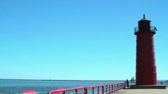 Lake Michigan Pierhead Lightouse - stock footage