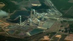 Nuclear Power Plant Aerial Stock Footage