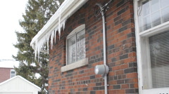 Winter house with hydro meter. Stock Footage