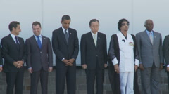 Gaddafi & Obama (plus all other leaders) 1 minute silence at G8 (3 shots) Stock Footage