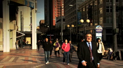 People walking in Seattle Crane Shot Stock Footage