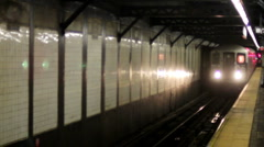 NYC subway coming into station. - stock footage