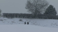 Women and dog stand in snow covered field. Stock Footage