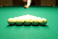 Billiards game split pyramids NTSC Stock Footage