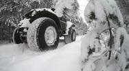 Jeep, winter wood Stock Footage