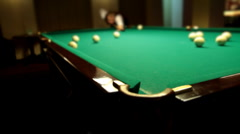 Billiards game blow on ball Full HD Stock Footage