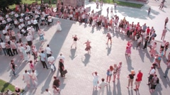 People dance on Manezhnaya Square Stock Footage