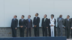World leaders at the G8 summit (3 shot sequence) Stock Footage