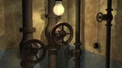 Grunge underground interior with swinging lamp Stock Footage
