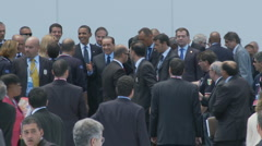 President Obama jokes with Italian Prime Minister Silvio Berlusconi at the G8  Stock Footage