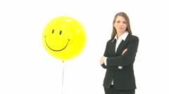 Woman with smiling ballon Stock Footage