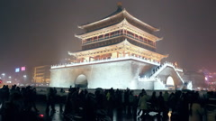 night scene during the Chinese new year in xi'an, china - stock footage