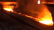 Stock Video Footage of Pouring of liquid metal from blast furnace