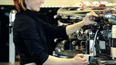 Bar Tender serving cappuccino Stock Footage