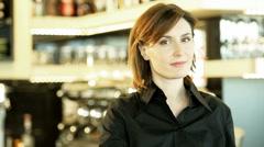 Smiling Female Bar Tender Stock Footage