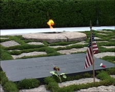 John F. Kennedy Eternal Flame Gravesite Stock Footage