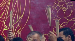 Carrying Incense At Chinese New Years Stock Footage