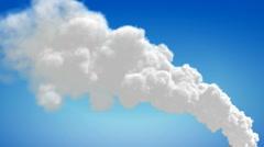 Chimney flue smoke timelapse over blue sky Stock Footage