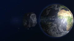 Asteroid Approaching The Earth Stock Footage