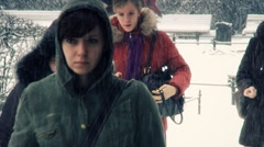 People at winter - stock footage