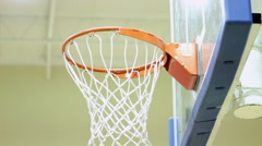 Close up of basketball hoop net Stock Footage