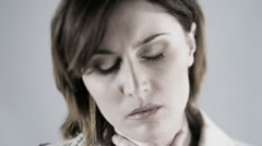 Close-up of a nervous woman Stock Footage