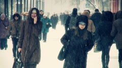 People at winter Stock Footage