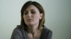 Sad/Despairing Woman, maybe victim of violence;  HD Photo JPEG Stock Footage