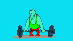 WEIGHT LIFTER,Man try to lifting weight.  Stock Footage