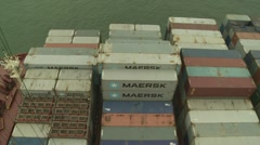 Top-view pan of container ship Stock Footage