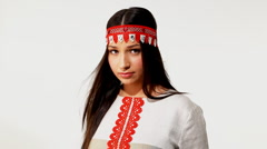 Young girl in traditional russian costume Stock Footage