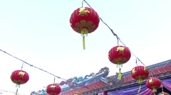 Chinese New Year Lanterns Sway In The Breeze Stock Footage