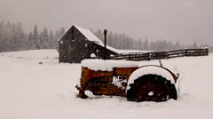 Snow in winter on a ranch Stock Footage