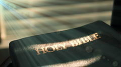 light on the bible with flare - stock footage