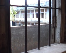 Tuol Sleng, bars in window Stock Footage
