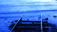 Disapearing blue tracks Stock Footage