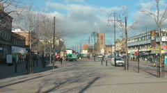 Urban High Street with shops and winter trees - stock footage