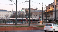 Red tram  Stock Footage