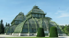 Palm House at the Imperial Garden of Schonbrunn Stock Footage