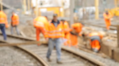 Construction worker talking blurry Stock Footage