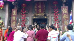 Entering The Temple On Chinese New Year Stock Footage