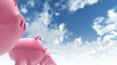 Multiple piggy banks Stock Footage