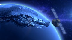 Artificial Satellite Orbiting The Earth - stock footage