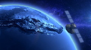 Stock Video Footage of Artificial Satellite Orbiting The Earth