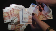 Money Russian Ruble Stock Footage