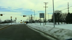 Rural intersection traffic circle  Stock Footage