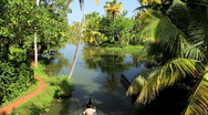 Stock Video Footage of Two Local people in canoes on the Kerala backwaters, Kerala, India